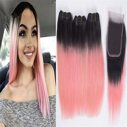 $enCountryForm.capitalKeyWord Australia - Black Roots 1B Pink Ombre Lace Closure and Bundles Two Tone 1B Rose Gold Pink Ombre Indian Straight Human Hair Weaves with Closure