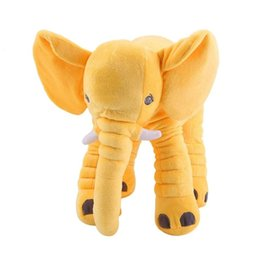 stuffed animal stuffing UK - New yellow cotton Stuffed Animal Cushion Kids Baby Sleeping Soft Pillow Toy Cute Elephant Cotton children's bed partner