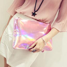 $enCountryForm.capitalKeyWord Canada - Wholesale Hot Sale Fashion Laser 31*21*1CM White Pink Versatile Phone Ipad Mini Envelope Hand Bag Wallet For Women
