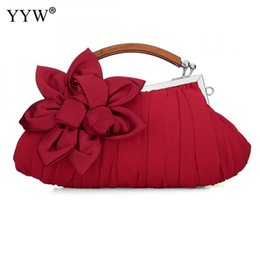 clutches for evenings UK - YYW Lady Clutch Bag Red Bride Wedding Mini Bags Floral Banquet Handbag Silk Evening Party Bags For Women