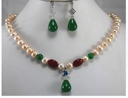 $enCountryForm.capitalKeyWord Australia - Free Shippingperfect match 8mm pink pearl and green jades tones necklace match earrings set