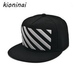 Kioninai мода бейсболка хип-хоп шляпа унисекс Дизайн черно-белые полосы не мейнстрим Snapback Gorras Planas Casquette кости на Распродаже