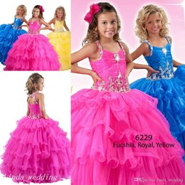 12 Cupcakes Australia - New Arrival Fuchsia Royal Blue Yellow Girls Pageant Dress Princess Party Cupcake Prom Dress For Short Girl Pretty Dress For Little Kid