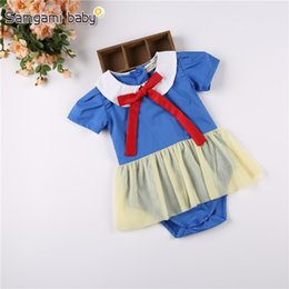Barato Macacão Branco Azul-Baby White Snow Rompers Red Bow Doll Collar Azul manga curta Yellow Gauze Newborn Infant Girls Summer Clothing 3-24M