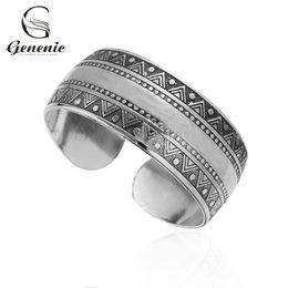Discount antique silver bangles for women - 1 Piece Fashion New Bohemian Ethnic Retro Cuff Antique Silver Carve Flower Bangle Jewelry for Women NGift