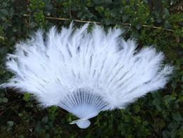Woman Fans Australia - 8colors Feather Fans Folding Dance Hand Fluffy Fan Fancy Elegant Props Costumes For Women Wedding Party Festive Supplies