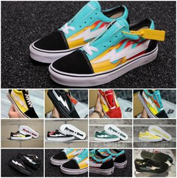 257f5645349d11 2018 New Revenge X Storm Old Skool Canvas Designer Sneakers Womens Men Low  Cut Skateboard Yellow Red Blue White Black Casual Shoes