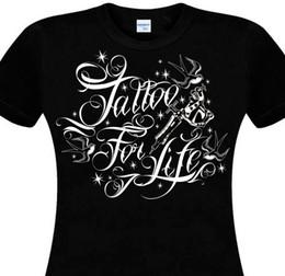 f201a8fbfe239 Женская футболка с принтом Женская татуировка Harajuku For Life Tatouage  Old School Chicanos Tatoueuse Tattoo Gun Пользовательские футболки