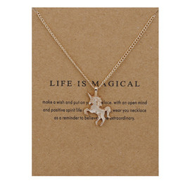 Silver horSe jewelry online shopping - Fashion NO Dogeared LOGO New Gold color Life Is Magical UNICORN Horse Alloy Clavicle Chain Pendant Chocker Necklace Jewelry Gift Whosales
