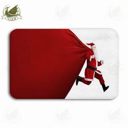 $enCountryForm.capitalKeyWord NZ - Vixm Santa Claus Running A Huge Package Of Christmas Presents Welcome Door Mat Rugs Flannel Anti-slip Entrance Indoor Kitchen Bath Carpet