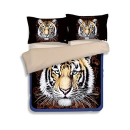 King Size Quilt Covers Polyester Cotton UK - Free shipping novelty gift cool tiger pattern adult kids bedding set duvet Quilt Cover with 2 pillowcase Twin full Queen King size