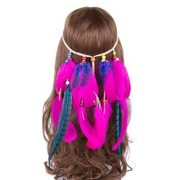 $enCountryForm.capitalKeyWord UK - 5pcs lot Indian Feather Headband AWAYTR Hair Accessories 2018 Festival Women Hippie Adjustable Headdress Boho Peacock Feather Hair Band