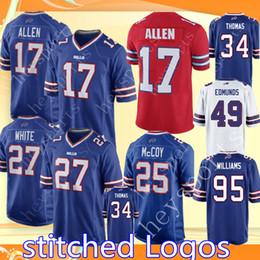 c5065af61 17 Josh Allen Jersey Buffalo Bills 27 Tre Davious White 25 LeSean McCoy 34  Thurman Thomas 12 Kelly 49 Edmunds Williams Football Jerseys