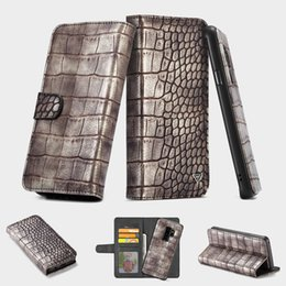 4a2f06fe60327 Für iphone X Galaxy S9 Plus Krokodil Leder abnehmbare abnehmbare  Brieftasche 2 in 1 Magnet Flip Cover Karte ID Schlange Mann Buch PU Beutel