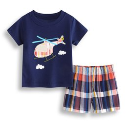 $enCountryForm.capitalKeyWord NZ - Helicopter Baby Boy Clothes Set Cotton Children T-Shirt Plaid Pant Boys Tee Shirts Clothing 2PCS Suit Outfit Infant Sport Suit