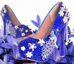 Yellow Glitter Canada - Free Ship 2018 New Rhinestine Phoenix Flower Wedding Shoes Women High Heels Sexy Glitter Party Dress Platform Pumps Pearls Single Shoe 14cm