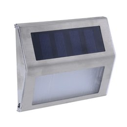 Wholesale Decking Lights UK - Stainless Steel Mini 3 LED Solar Wall Light Garden Light Lamps for Outdoor Illuminates Stairs Paths Deck Patio Street