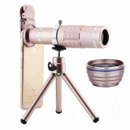 tripod for macro Australia - Universal Clips 18X Zoom Telescope 0.45X Fisheye Wide Angle 15X Macro lenses Telescope With Tripod For Smartphone camera lens Kit