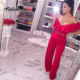 shoulder overall jumpsuits women NZ - Pofash Summer Autumn Ruffle Strapless Jumpsuit Women 2018 New Casual Off Shoulder Overalls Sexy Club Party Romper Playsuits