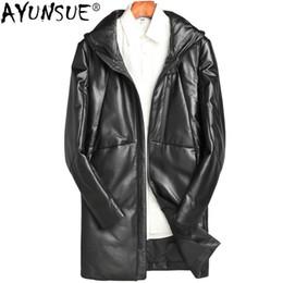 Mens Parka Leather Australia - AYUNSUE Real Genuine Leather Jacket Mens Sheepskin Coat Winter Duck Down Jackets Plus Size Parka Chaqueta Cuero Hombre ZL882