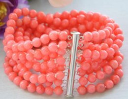 """Coral Beads Strands Australia - Real 8row 7.5"""" 6MM round pink coral bead bracelet magnet AAAA> free shipping"""