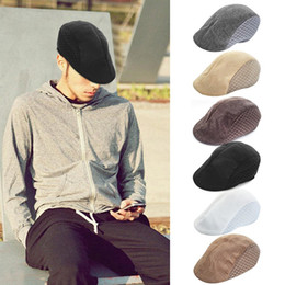 beret breathable 2019 - New Arrival Autumn Style Comfortable Breathable Linen Beret Flat Cap Peaked Cap Golf Hat For Men & Women cheap beret bre