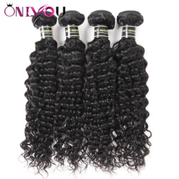 virgin remy brazilian human hair extensions Canada - Onlyou Hair Products 4 Bundles Brazilian Deep Wave Virgin Human Hair Extensions Raw Indian Remy Hair Weaves Bundles Deep Wave Factory Deals