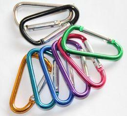 Snap Lock Key Chain Hook Canada - Carabiner Ring Keyrings Key Chains Sport Carabiner Camp Snap Clip Hook Keychain Hiking Aluminum Convenient Hiking Camping Free