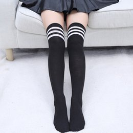 18f12f8f3e9fe 2018 New 1Pair Women Girls Stockings Black White Knee Cosplay Socks School  Student Stockings