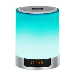 $enCountryForm.capitalKeyWord UK - Card speaker nightlight wireless bluetooth speaker led colorful touch clock alarm clock speaker lamp