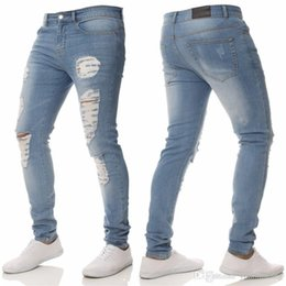 Wholesale Ripped Jean Distressed Hole Men Jogger Pant Stretch Hip Hop Skinny Pencil Denim Jeans