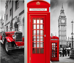 $enCountryForm.capitalKeyWord NZ - British style London Red Phone Booth Sports Car Big Ben Classic Door Sticker DIY Mural Home Decor Poster PVC Waterproof Sticker