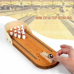 mini bowling toys 2019 - Mini bowling desktop game wooden children puzzle innovative toys solid wood paternity fun ball Creative toys as gift for