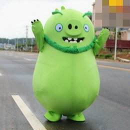 HigH quality masquerade costumes online shopping - High quality production EVA material green cartoon pig mascot costume cartoon costume birthday party masquerade
