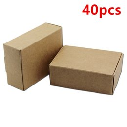 kraft jewelry gift boxes UK - 40pcs 8.5*6*3cm Brown Kraft Paper Box Gift Packaging Retail Package For Event Jewelry Rings Wedding Favor Candy Handmade Soap Packing free s