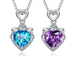 $enCountryForm.capitalKeyWord NZ - New S925 Pure Silver Ocean Heart Necklace Navy Crystal Pendant Korean Silver Decoration Wedding Leisure Necklace Pendant Birthday Gift
