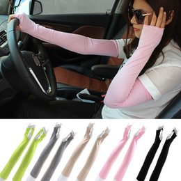 uv long driving gloves Canada - Women Cotton Long arm Fingerless UV Sun Protection Golf Driving Cover Gloves Mittens Arm Warmers