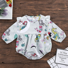 girls christmas rompers Canada - Vieeoease Toddler Girls Romper Christmas Flower Baby Clothing 2018 Autumn Long Sleeve Cute Print Rompers EE-1099