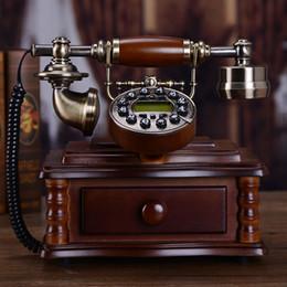 EuropEan tElEphonE antiquE online shopping - Chinese solid wood antique telephone European home landline fixed line American fashion creative old fashioned retro telephone