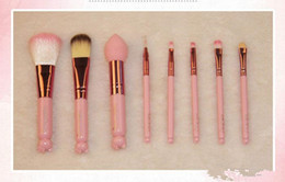 $enCountryForm.capitalKeyWord NZ - New arrical Makeup Brushes Set + Mirror Case eyeshadow blush Brush Kit Pink Make up Toiletry Beauty Appliances 8pcs set Cosmetic tools free