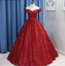 Strapless Sequin Red Dress NZ - Glitter Wine Red Sequins Ball Gown Wedding Dress Luxury 2018 Dubai Burgundy Colorful Wedding Gowns Lace-up Arabic Bride Dresses