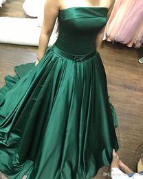82568261965 Без бретелек Vestidos де феста Лонго бальное платье развертки поезд Атлас с  бантом створки вечерние платья 2017 изумрудно-зеленые платья SE223