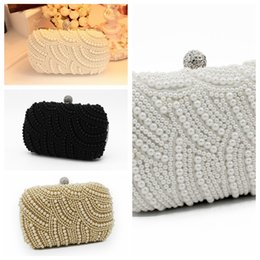 clutches for evenings Australia - Elegant Full Pearls Crystal Beaded White Bridal Wedding Hand Bags Evening Party One Shoulder Small Clutch Dinner Bags Champagne For Ladies