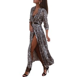 Stock Clothes Winter UK - Goods In Stock ! Autumn And Winter Snake Long Sleeve Sexy Longuette women clothes maxi mini club Dress fashions Suit-dress dressed