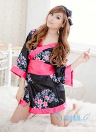 Sexy Deep V-neck Kimono Japanese Traditional Japon Kimono Party Dresses Women  Satin Floral Printed Nightwear Short Dress cosplay costume 358855b5d