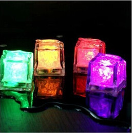 Discount ice blocks - Led Ice Cube Flash Slow Fluorescent Block Auto Changing Crystal Cube For Bar Party Wedding Festival Valentine Day XMAS S