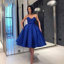 $enCountryForm.capitalKeyWord NZ - Royal Blue Party Dress Sweetheart Sleeveless Strapless Knee Length Belt Satin Homecoming 2019 A Line Formal Cocktail Short Bridesmaid Dress