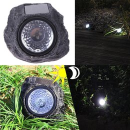 Wholesale 4LED Solar Powered Lamp Lawn Resin Amorphous Silicon Waterproof Rock Stone Light Garden Courtyard Park Lawn Decor Illumination