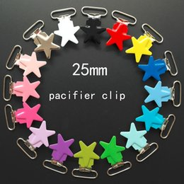 Pink Pacifier Clip Canada - Wholesale 10 Pcs Enamel Star Shape Metal Baby Pacifier Clips Holders   Suspender Clips Dummy Clip Holder Chain Plastic insert