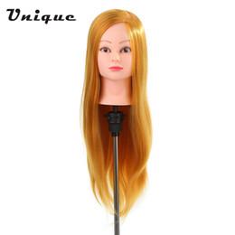 "practice hair head 2019 - Professional 24"" Dummy Head 50% Real Human Hair Training Head Hairdressing Salon + Clamp Holder Hairdressing Practi"